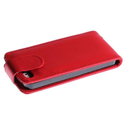 wortek Flip Case Apple iPhone 5 / 5S Tasche Hellbraun iPhone 5 / 5S - Rot
