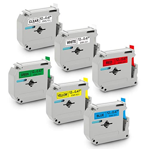MK Tape 12mm Ersatz für Brother P-Touch MK-231 MK-131 MK-431 MK-531 MK-631 MK-731 Etikettenband für Brother Label Maker PT-65, PT-75, PT-80, PT-M95 12mm x 8 m, 6 Farben