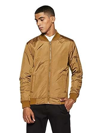Qube By Fort Collins Men's Nylon Jacket (YF 1450 SMU_Khaki_M)