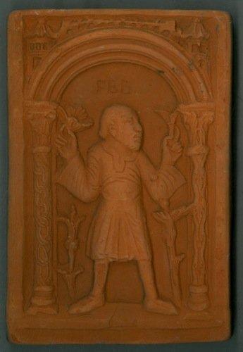 Mattonella in terracotta : contadino in piedi, sotto la scritta
