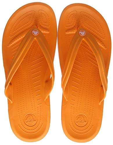 Crocs Unisex-Erwachsene Zehentrenner Zehentrenner Crocband Flip, Orange (Orange/Weiß), 42-43 (Herstellergröße: M9/W11)
