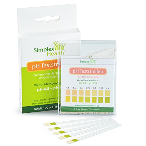 SimplexHealth pH Teststreifen pH 4.5-9.0 (100 Stück) Für Urin & Speichel