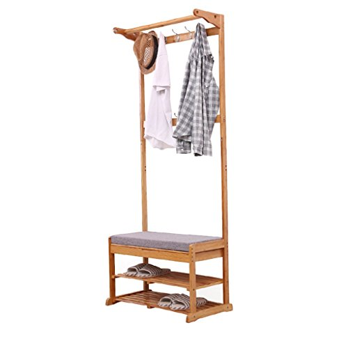 Bambus Kleiderständer Multifunktions Lagerung Bodenbelag Bank Change Schuh Bank Schuh Rack Hall Kleiderbügel Kleiderbügel Holz Farbe - Hall Bank Coat Rack