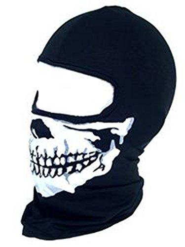 Totenkopf Full Face ein Loch Maske Sturmhaube Warm Winter Ski Motorrad Helm Snood (Maske Face Black Full)