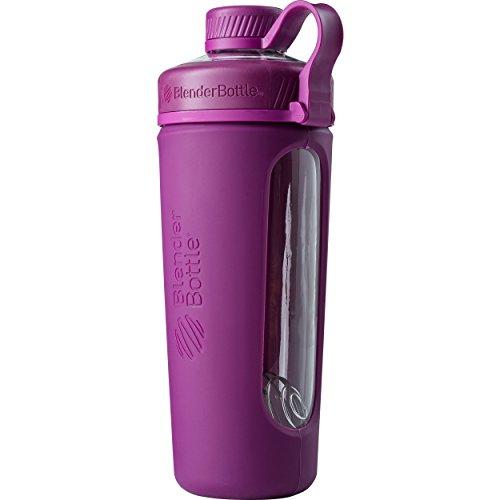 BlenderBottle Radian Wasserflasche| Protein Shaker| Diät Shaker| Fitness Shaker | BPA frei | mit BlenderBall | Glas| Glasflasche mit Silikonhülle - plum, 820ml , skaliert bis 710 ml