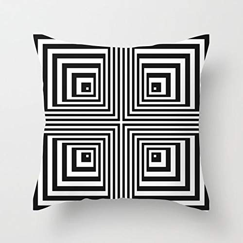 PotteLove Geometric Black and White Striped Dotted Grid Triangular Art Polyester Square Decorative Throw Pillow Covers Case Cushion Pillowcase for Sofa Bench Bed Home Decor 24