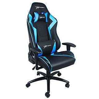 E-Win®, Bürostuhl, Gaming Stuhl, Schreibtischstuhl, Chefsessel mit Armlehnen, Gaming chair, Stoff Leder Kombination schwarz / blau hochwertig & sehr bequem