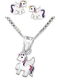 SL-Silver Parure pour enfant comprenant une chaîne, une paire de boucles d'oreille et un pendentif licorne en argent sterling925 avec cristaux, dans un coffret cadeau
