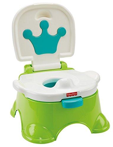 Fisher-Price DLT00 Lerntöpfchen und Fußbank mitwachsendes Töpfchen Toilettentrainer grün inkl. Toilettensitz für Kleinkinder