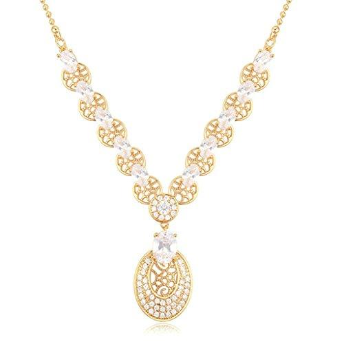 AooazDamenVergoldetHalsketteAnhängerHalskette Tropfen Weiß Kristall Runde Form Kette Champagner Halskette