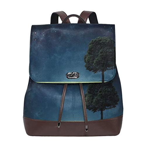 Women's Leather Backpack,Abstract Natural Composition with Lonely Tree In Park Crescent Moon In Sky,School Travel Girls Ladies Rucksack -