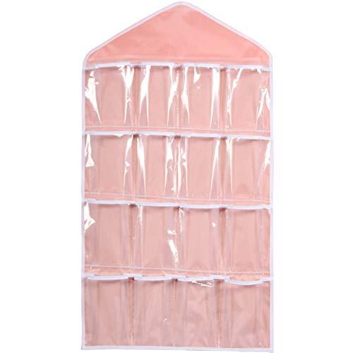 Gu3Je 16 Taschen für zu Hause, Multifunktions-Kleiderschrank Tür zurück Aufbewahrungstasche (Keine Kleiderbügel) Pink 80x42cm