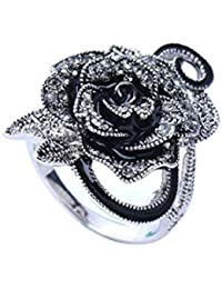 FENICAL Retro Rose Flower Ring Rhinestones Paved Floral Vintage Statement Cocktail Rings for Women Size 7 (Black)