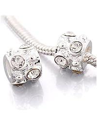 ANDANTE de Stones Plata Bead con 6piedras blancas cristal bola Element Para European Beads + Traumhandel
