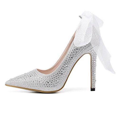 AalarDom Femme à Talon Haut Couleur Unie Tire Pointu Chaussures Légeresavec Ruban de Soie Argent