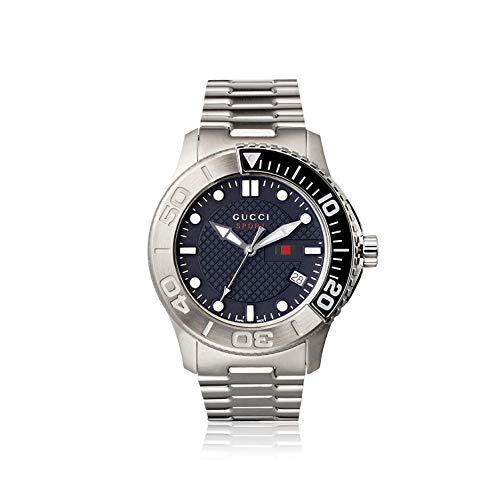 Gucci Men's G-Timeless Steel Bracelet & Case Quartz Navy Dial Watch YA126253