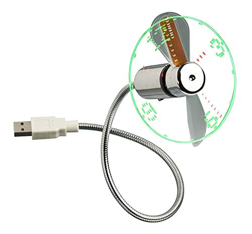Trixes - Reloj de Escritorio y Ventilador portátil, Flexible, USB, con Pantalla LED