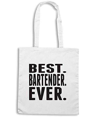 T-Shirtshock - Borsa Shopping BEER0185 Best Bartender Ever Bianco