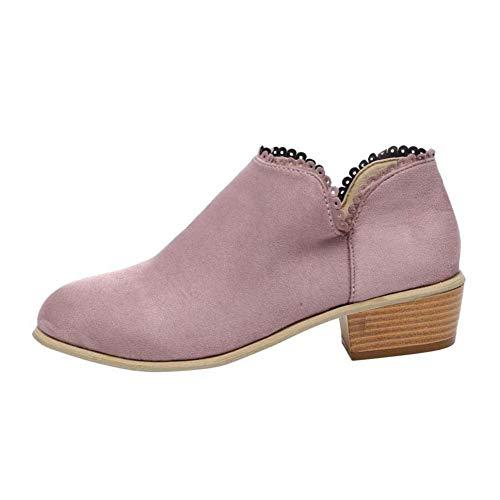 Stiefeletten Damen Leder Wildleder Sommer Low Top Ankle Boots Blockabsatz Stiefel mit Blockabsatz Elegant Schuhe Schwarz Blau Rosa Gr.35-43 PK40