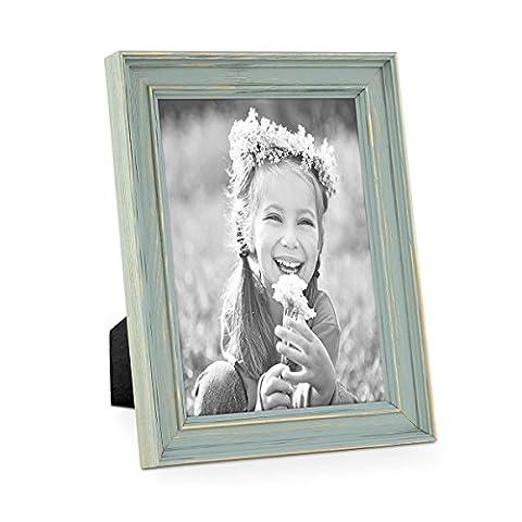 Bilderrahmen Skandinavischer Landhaus-Stil Petrol / Taubenblau 13x18 cm Massivholz mit Shabby-Chic Note / Fotorahmen / Wechselrahmen