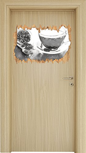 Genussvoller Kräutertee Kohle Zeichnung Effekt Holzdurchbruch im 3D-Look , Wand- oder Türaufkleber Format: 62x42cm, Wandsticker, Wandtattoo, Wanddekoration Tee-hibiscus Hagebutte
