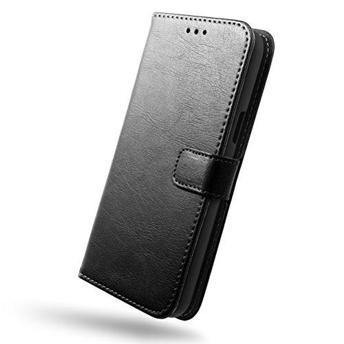 SLEO ASUS ZenFone Go ZB500KL Hülle Retro Lederhülle Wallet Deckel mit Kartensteckplätze - Schwarz