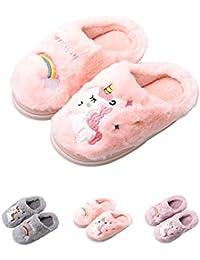 HausFine Zapatillas de Estar por Casa para Niñas Niños Invierno Zapatillas de Unicornio Interior Casa Caliente Pantuflas Suave Calentar Antideslizante Slippers