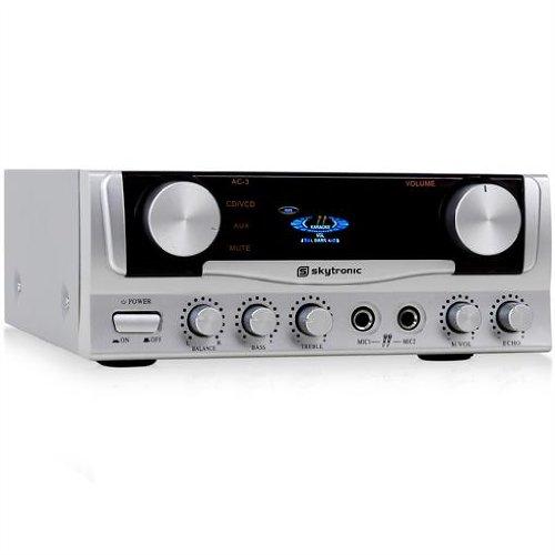 Skytec Audio-Kompakt-Verstärker 400 Watt PA-Amplifier für Karaoke zuhause (2 Mic-Anschlüsse, Echo-Effekt, 3x Stereo, 2x Cinch, LED) silber 04 Stereo