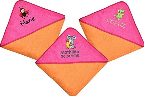 Wolimbo Kapuzenbadetuch mit Ihrem Wunsch-Namen und Wunsch-Motiv - Format: 100x100cm - Das individuelle und kuschelig weiche Badehandtuch für Mädchen und Jungs - Farbe: orange pink - Wählen Sie Ihr Wunsch-Motiv