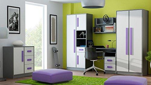 Jugendzimmer Kinderzimmer GRANT 6-tlg komplett Set A in 5 Farben Schrank chreibtisch Kommode Regale NEU
