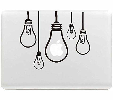 Sticker Macbook, Stillshine New Fashion Creative Art Noir Vinyl Decal Autocollant Noir pour Apple MacBook Pro / Air 13 Pouces pour Ordinateur (Ampoule)