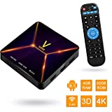 Android TV BOX,Super V Android 9.0 TV BOX 4GB RAM/32GB ROM RK3318 Quad-Core Supporto 2.4Ghz WiFi BT 4.0 4K HDMI DLNA 3D Smart TV BOX