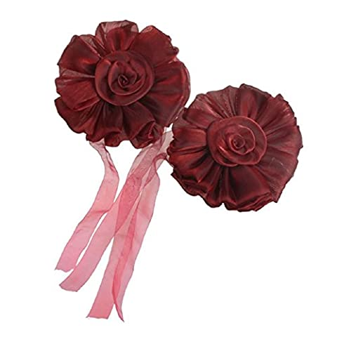 Rose Fleur Rideau Embrasse - SODIAL(R)1pair Fleur Rose Rideau De La Fenetre Embrasse Pince Boucle Crochet De Fixation DeCor (Rouge)
