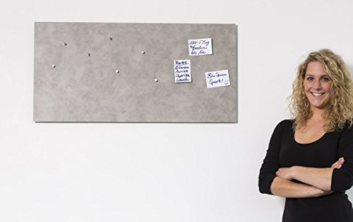 Magnet-Pinnwand mit Beton-Optik, Memoboard, Magnettafel, magnetisch; inkl. 10 Haft-Magnete