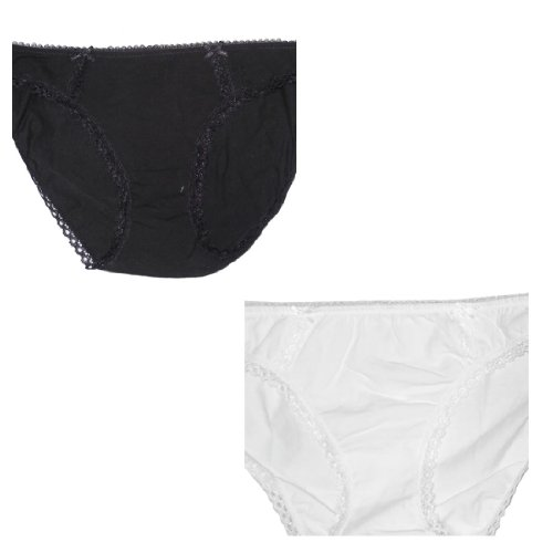 (Pack of 2) Femme Sexy Stretch Hipster Brief Panties Noir & Blanc