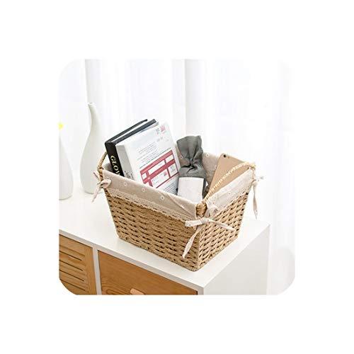 Noon-Sunshine Weave a basket Rattan Desktop-Speicherkorb Stoff Box Stroh Snacks Aufbewahrungsbox Weben Bücher Magazin Korb, 3 -