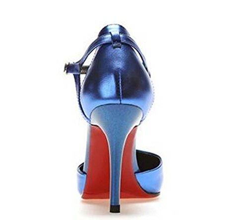 Beauqueen Pompe SCARPE CASUALI delle ragazze di estate Donne semplice specchio Sembra Casual Scarpe Argento Blu Gun Colore Europa standard formato 34-39 Blue