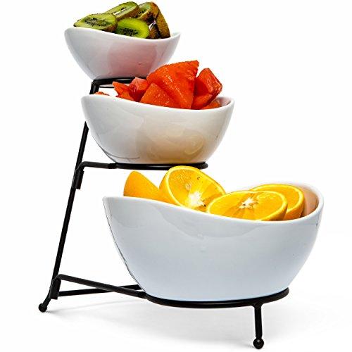 Speisen Servieren Schüssel-Set: 3Ebenen Metall Display Ständer mit 3weiß Schalen aus Steingut | Dessert und Snack-Server von Chef 's Medal Tiered Dessert Server