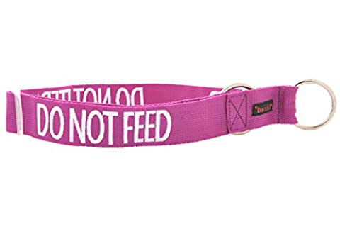 DO NOT FEED (Dog is on a Diet/Has Food Allergies) Purple Colour Coded Wide L-XXL Semi-Choke Dog Collar PREVENTS Accidents By Warning Others Of Your Dog In Advance
