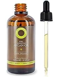 Pure Huile d'Argan 100% bio pour cheveux, peau, corps et ongles, 100ml - pressée à froid au Maroc - revitalisant pénétrant sans rinçage, hydratant anti-âge et antirides