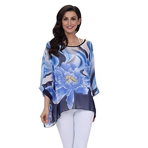 PorLous T-Shirt, Frau 2019 Kurze Ärmel Mode Frauen Chiffon gedruckt Beachwear Bademode Bikini Cover Up Sonnencreme Shirt Elegant Bequem Groß