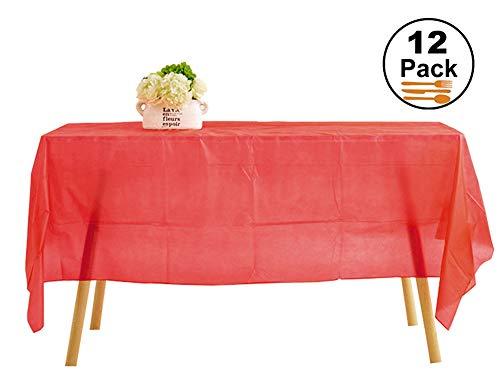 Ehome HOMEE Tischdecke, quadratisch, Plastik, rot, 54'' x 108'' - Königlichen Stil, Quadratische Tische