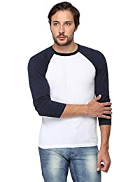 Goodtry Men's Cotton Raglan Round Neck Full Sleeve T-shirt- White With Navy