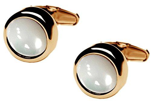 Gold/White Polo Mère de Pearl Center boutons de manchette de denisonboston