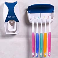 Unity BrandTM Plastic Automatic Hands-Free Wall Mounted Toothpaste Dispenser Squeezer with Detachable 5 Hole Toothbrush Holder (Standard, Multicolour)