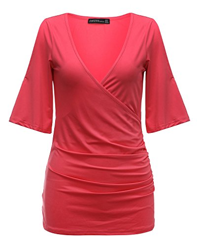 StyleDome Damen Batwing V-Ausschnitt Bluse Langshirt Tunika Tops T-shirt Rose