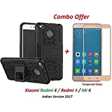 BY-like It Grab It It Mi 4 / Redmi 4 / Redmi4 / Mi4 (COMBO OFFER) Hybrid Armor Design Detachable And Stand-up Feature Dual Layer Protective Shell Hard Back Cover Case Mi Redmi 4 [May 2017 Launch] ( Black ) + 2.5D Curved 3D Edge To Edge Full Screen Tempere