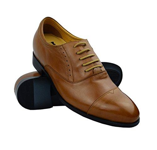 Zerimar Chaussures Avec Intensité Intérieure + 7 Centimètres Haute Qualité Cuir De Vachette 100% Tan Couleur Cuir