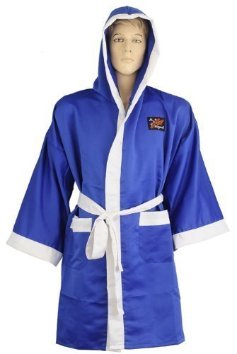 Playwell - Bata de boxeo satinada, color azul Talla:large
