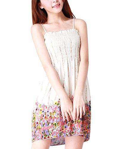 Allegra K Frauen Damen Plissee Büste Fuchsia blumige Chiffon Kleid Dress Multicolor